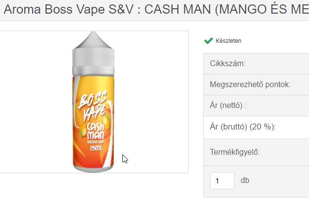 aroma boss vape s&v - cash man (mango és menta)
