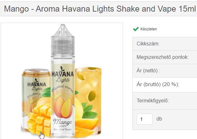 mango - aroma havana lights snv